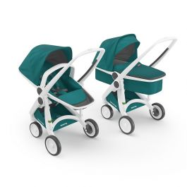 Carucior 2 In 1, Greentom, 100% Ecologic, White Teal