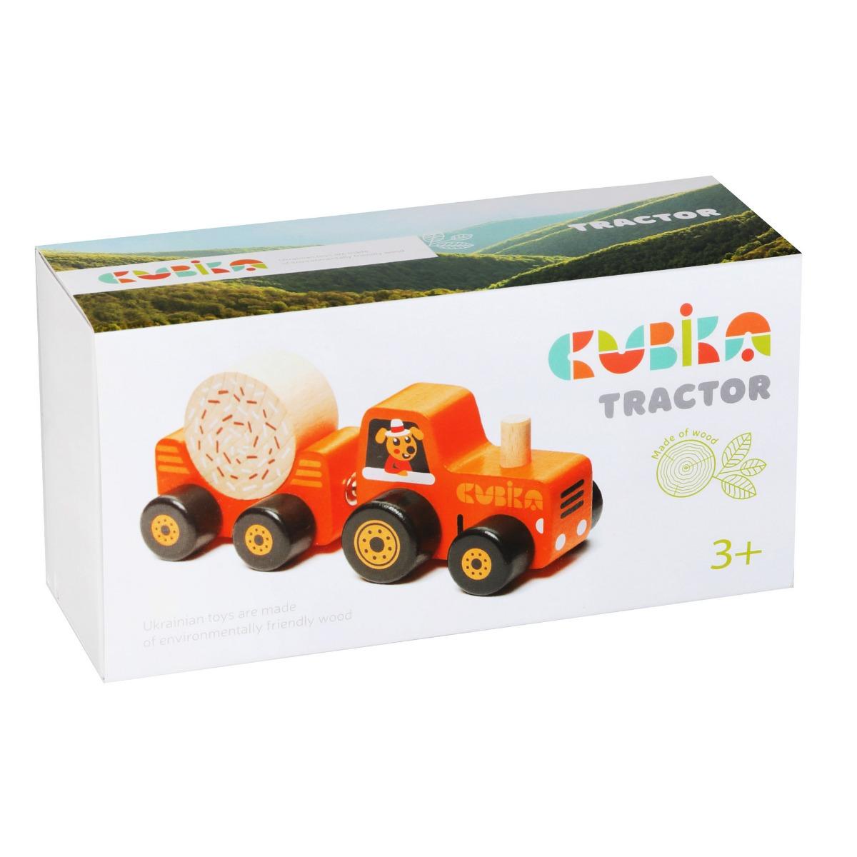 Jucarie din lemn, Cubika, Tractoras cu remorca