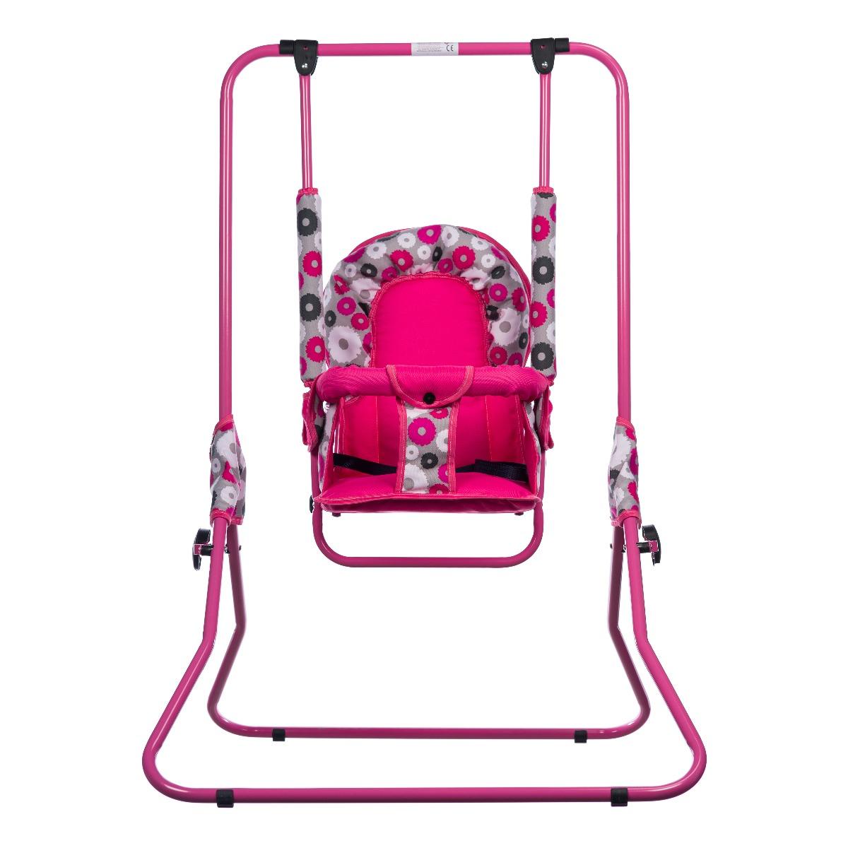 Leagan pentru copii, Top Kids, cu spatar reglabil, Pink Flowers
