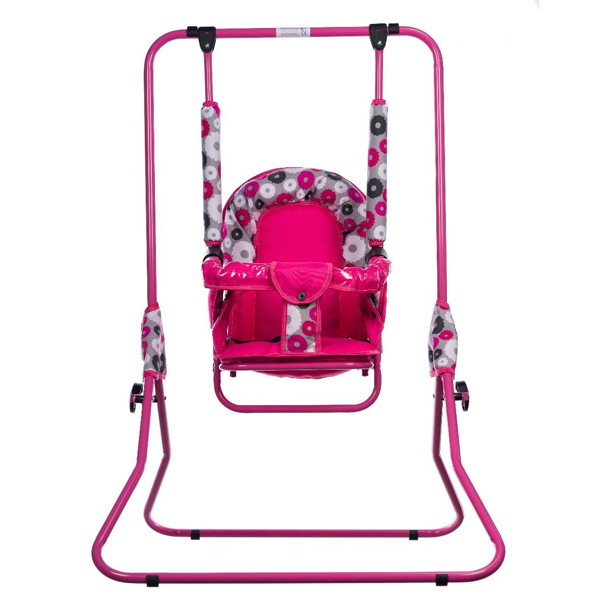 Leagan pentru copii, Top Kids, cu spatar reglabil si bara detasabila, Pink Flowers